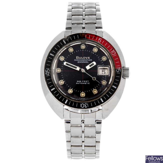 BULOVA - a gentleman's stainless steel Oceanographer Snorkel 666 Ft bracelet watch.