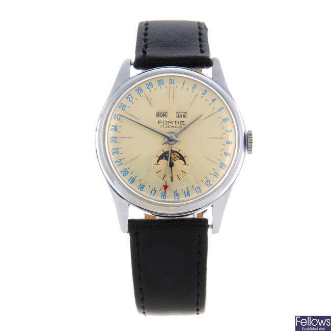 FORTIS - a gentleman's nickel plated triple date moonphase wrist watch.