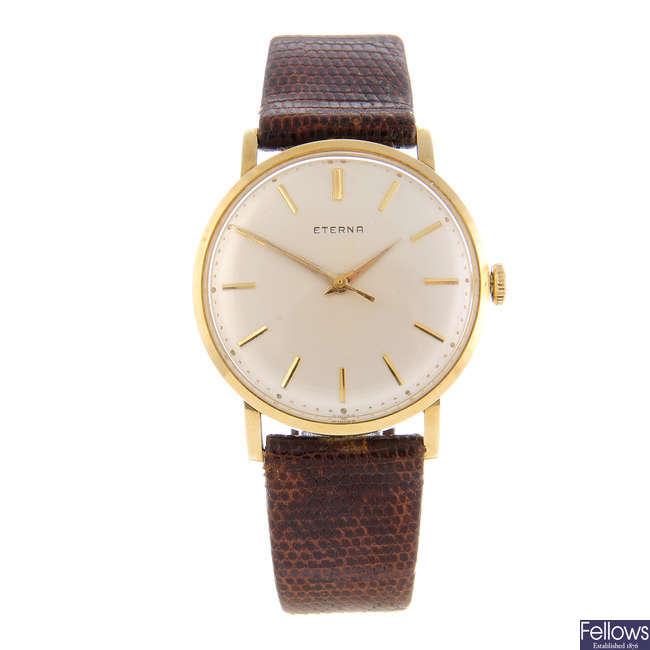 ETERNA - a gentleman's yellow metal wrist watch.