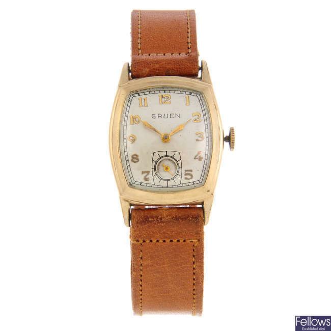 GRUEN - a mid-size gold plated wrist watch.