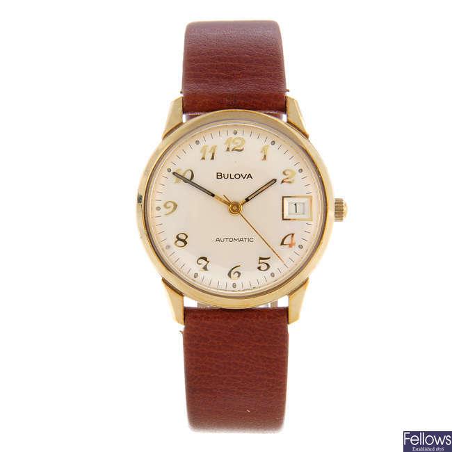 BULOVA - a gentleman's gold plated wrist watch with two Bulova watches.