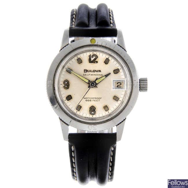 BULOVA - a gentleman's stainless steel 666 Feet wrist watch.