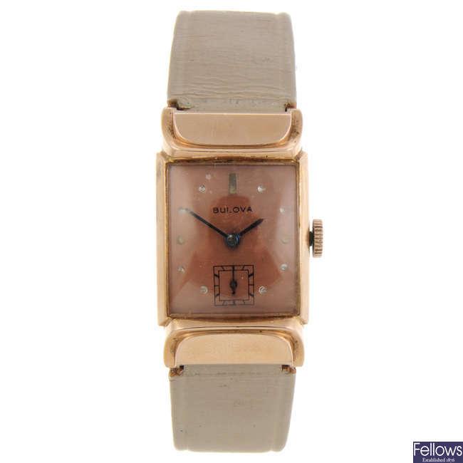 BULOVA - a mid-size rolled gold wrist watch.