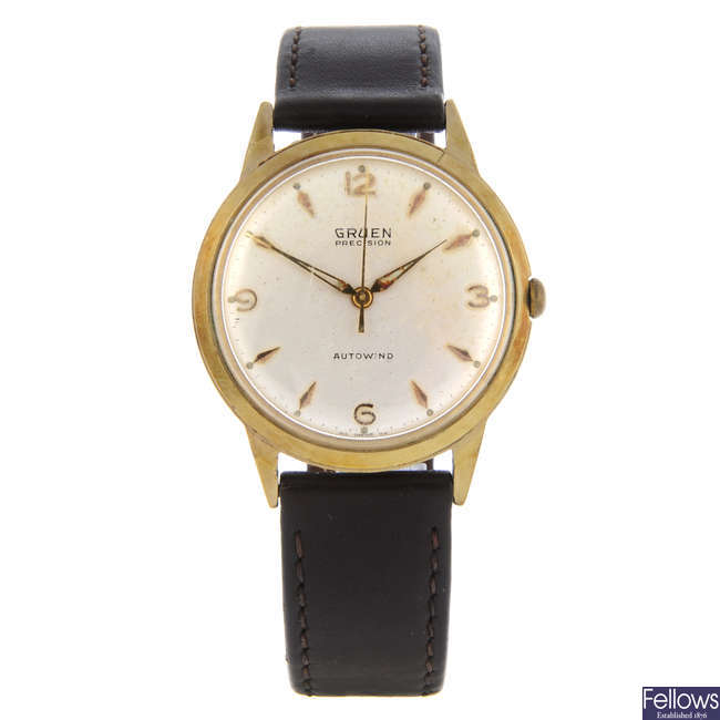 GRUEN - a gentleman's gold plated Precision wrist watch.