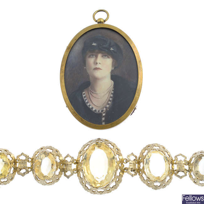 An early 20th century citrine bracelet and a portrait pendant.