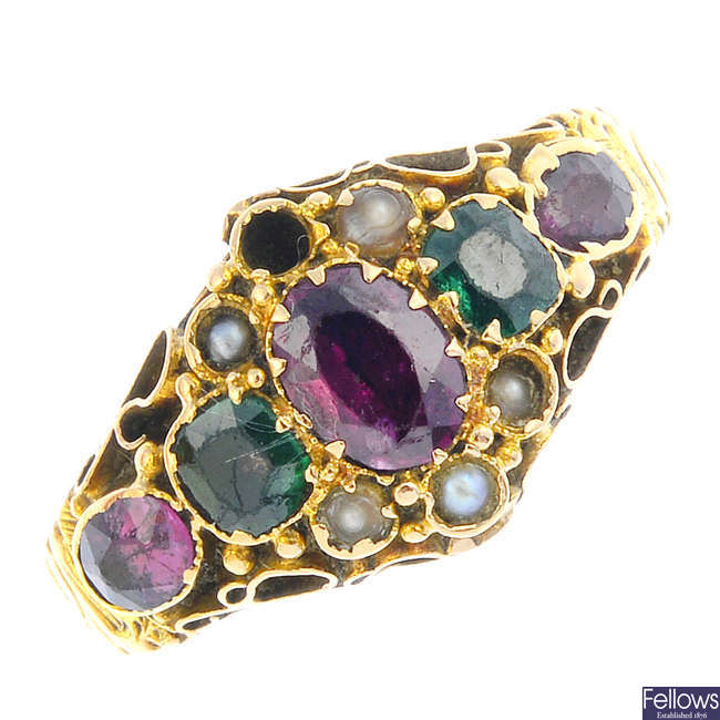 A mid Victorian 15ct gold gem-set ring.