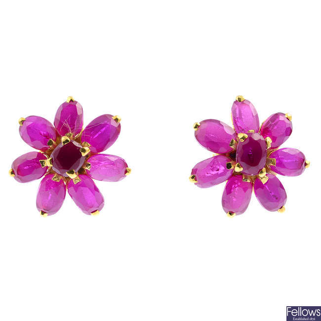 A pair of synthetic ruby floral cluster earrings.