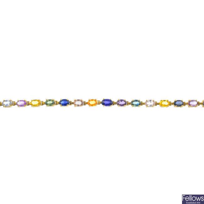 A 9ct gold sapphire bracelet.
