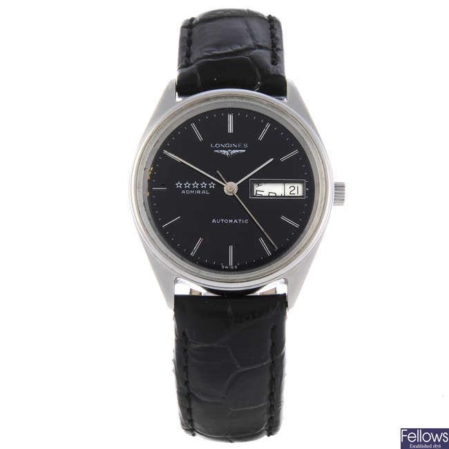 LONGINES - a gentleman's nickel plated Admiral wrist watch.