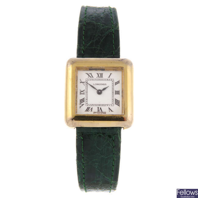 LONGINES - a lady's gold plated silver wrist watch.