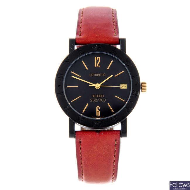 BULGARI - a limited edition mid-size carbon fibre Jeddah wrist watch.