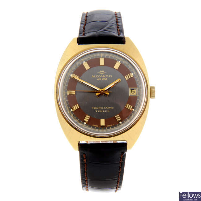 MOVADO - a gentleman's gold plated Tempo-Matic wrist watch.