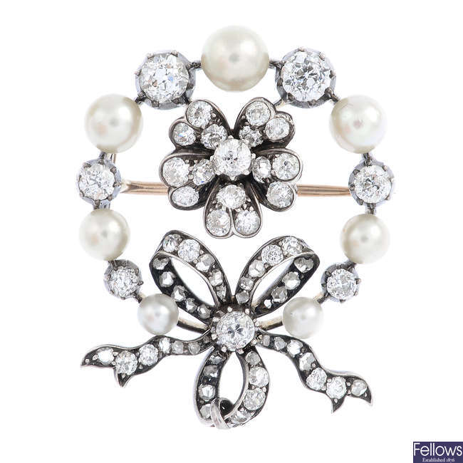 A late Victorian silver and gold, diamond and pearl brooch.