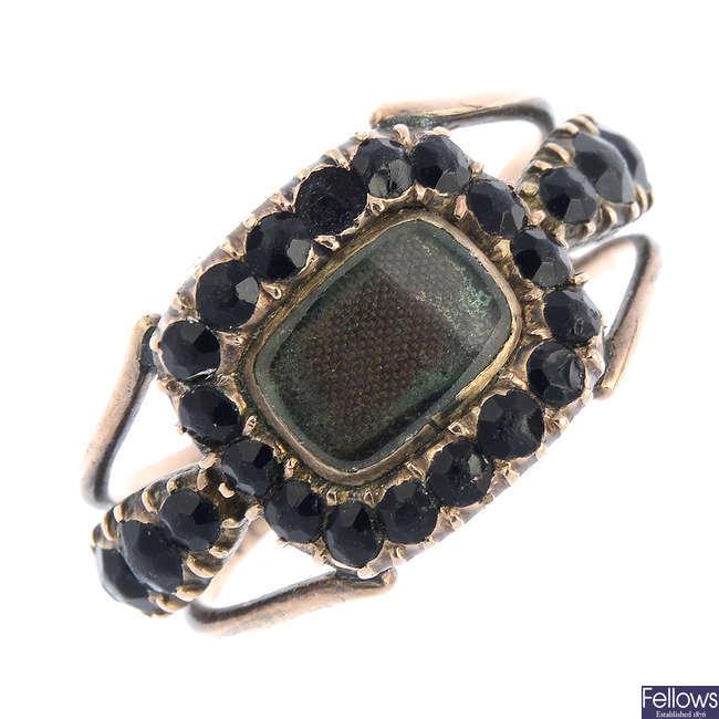 A late Georgian black paste memorial ring.