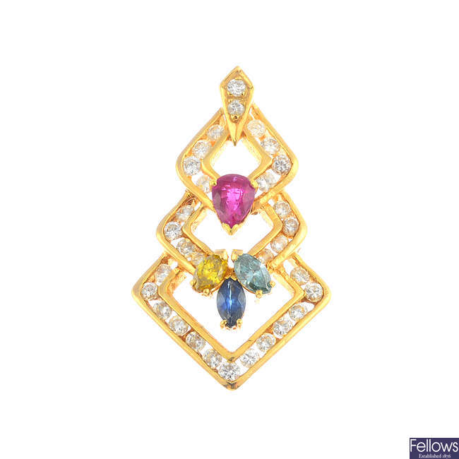 A diamond, coloured diamond and gem-set pendant.