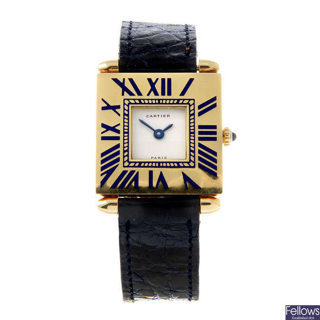 CARTIER - a yellow metal Quadrant wrist watch.