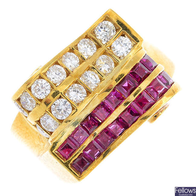 A mid 20th century 18ct gold, ruby and diamond dress ring.
