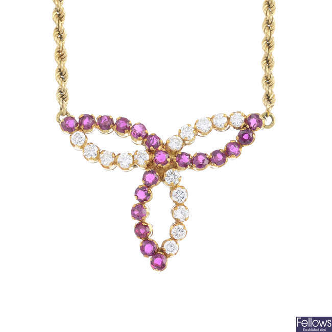 A ruby and diamond necklace.