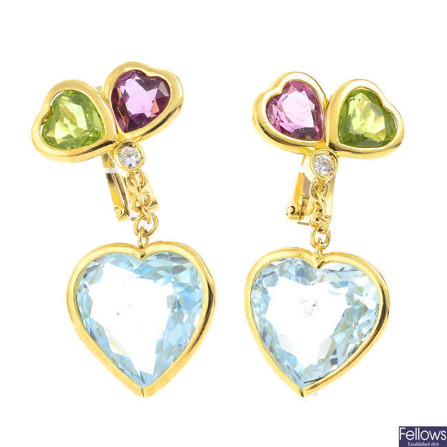 A pair of 18ct gold diamond, topaz, amethyst and peridot earrings.