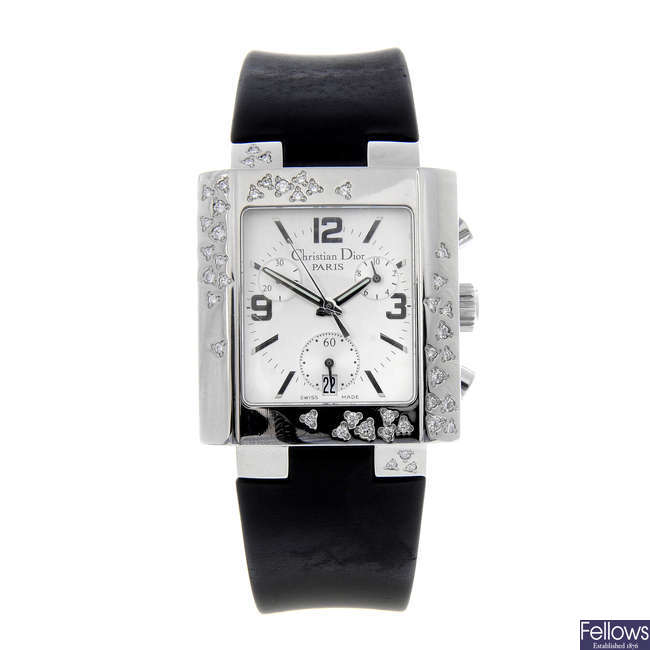 DIOR - a lady's stainless steel Riva chronograph wrist watch.