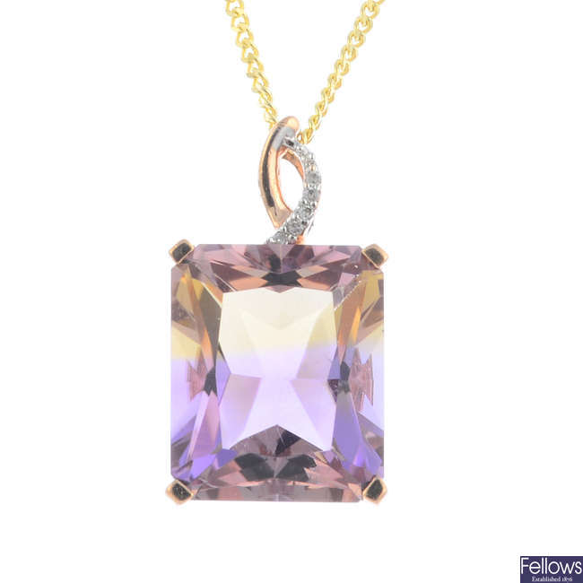 An ametrine and diamond pendant, with a 9ct gold chain.