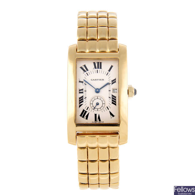 CARTIER - an 18ct yellow gold Tank Américaine bracelet watch.