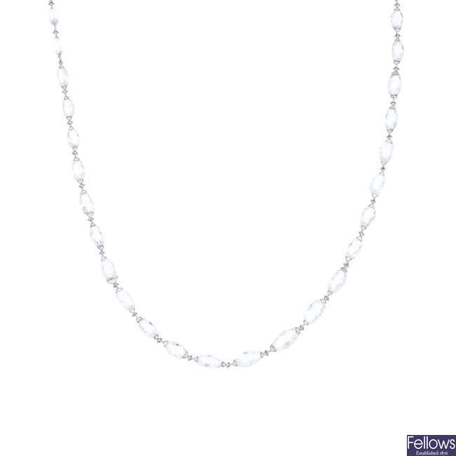 A diamond briolette necklace, by Lucie Campbell.