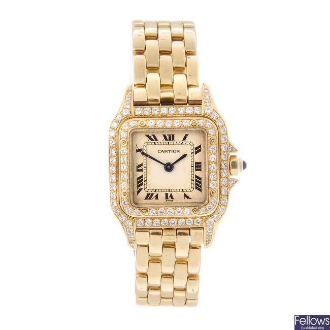 CARTIER - an 18ct yellow gold Panthere bracelet watch.