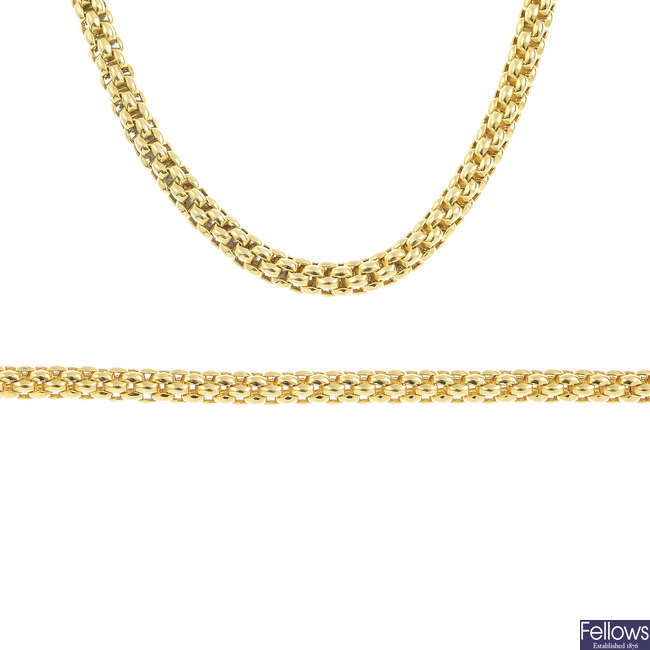 FOPE - an 18ct gold necklace and bracelet.