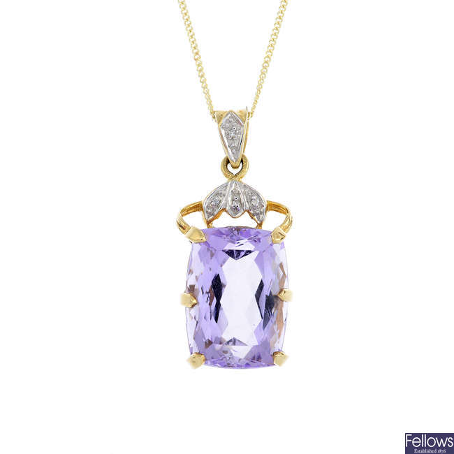 A 9ct gold amethyst and diamond pendant, with chain.