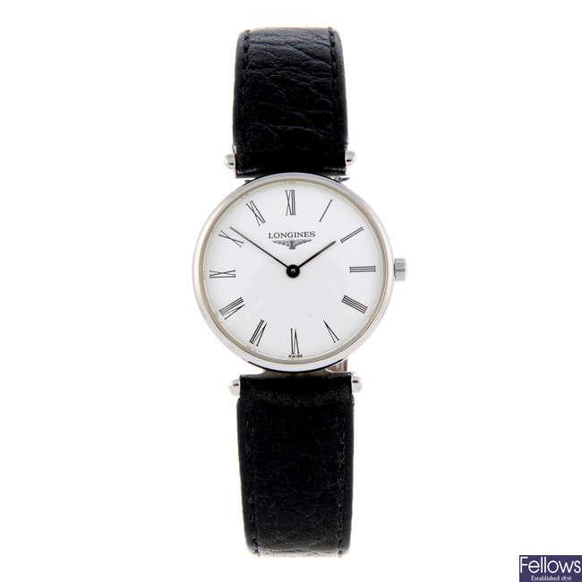 LONGINES - a lady's stainless steel La Grande Classique wrist watch.