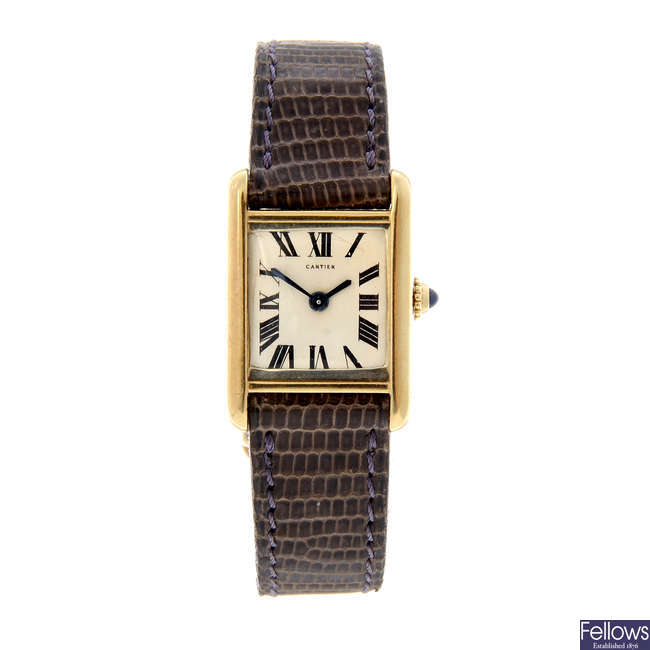 CARTIER - an 18ct yellow gold Tank wrist watch.