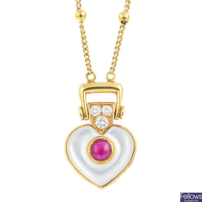 MAUBOUSSIN - a diamond, ruby and mother-of-pearl pendant.