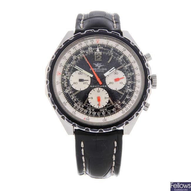 BREITLING - a gentleman's stainless steel Navitimer chronograph wrist watch.