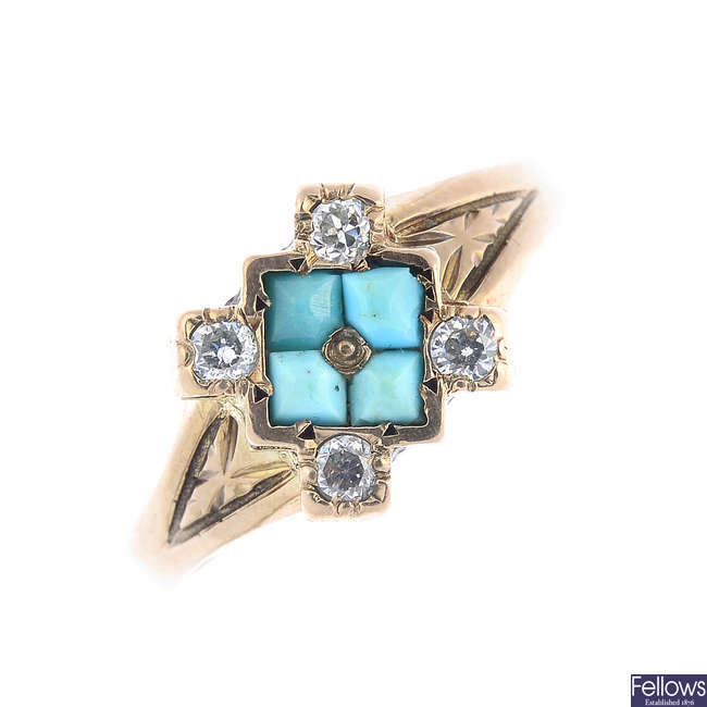 A turquoise and sapphire ring.