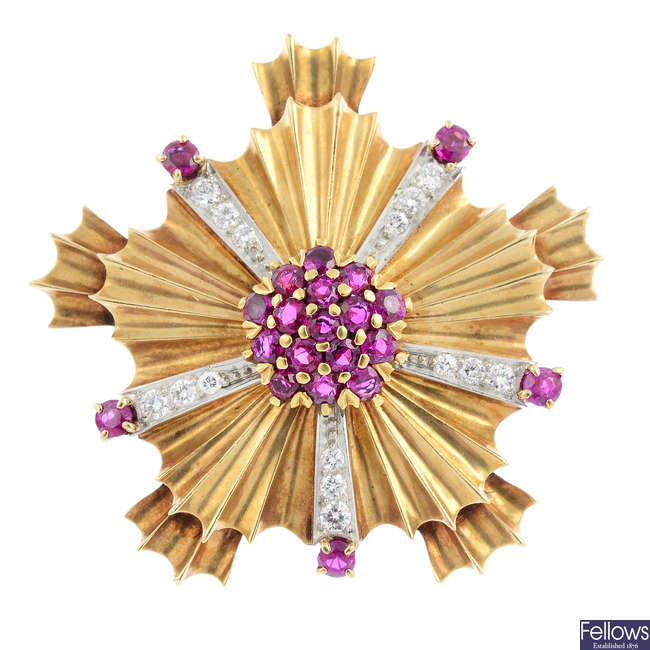 TIFFANY & CO. - a 14ct gold ruby and diamond brooch.