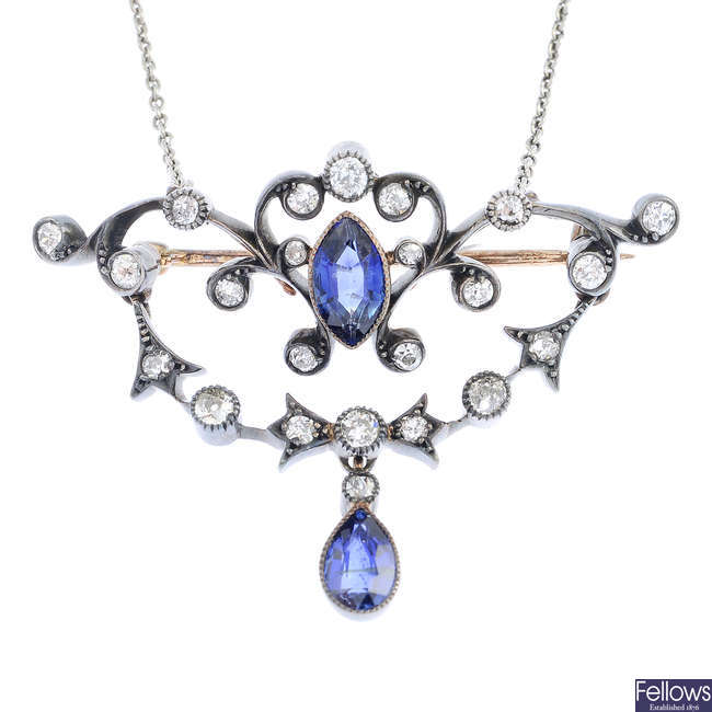 An early 20th century gold sapphire and diamond pendant, with chain.