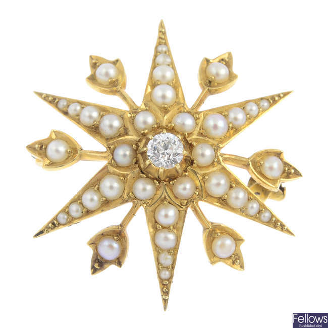 An early 20th century 18ct gold diamond and split pearl star pendant.