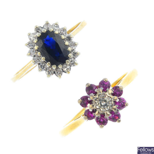 Two ruby, sapphire and diamond cluster rings.