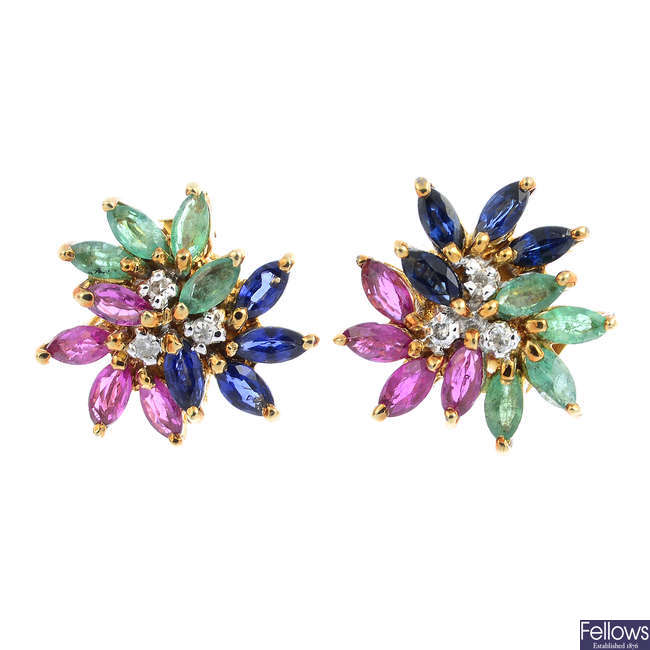 A pair of ruby, sapphire, emerald and diamond earrings.