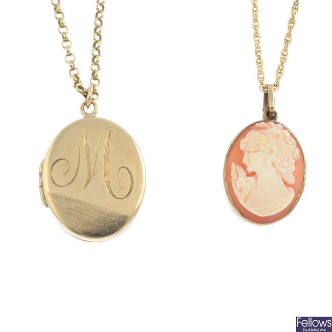 Two pendants, with chains.
