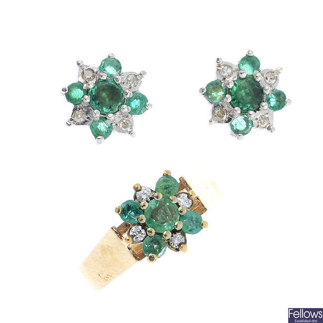 A 9ct gold emerald and diamond cluster ring, with matching earrings.
