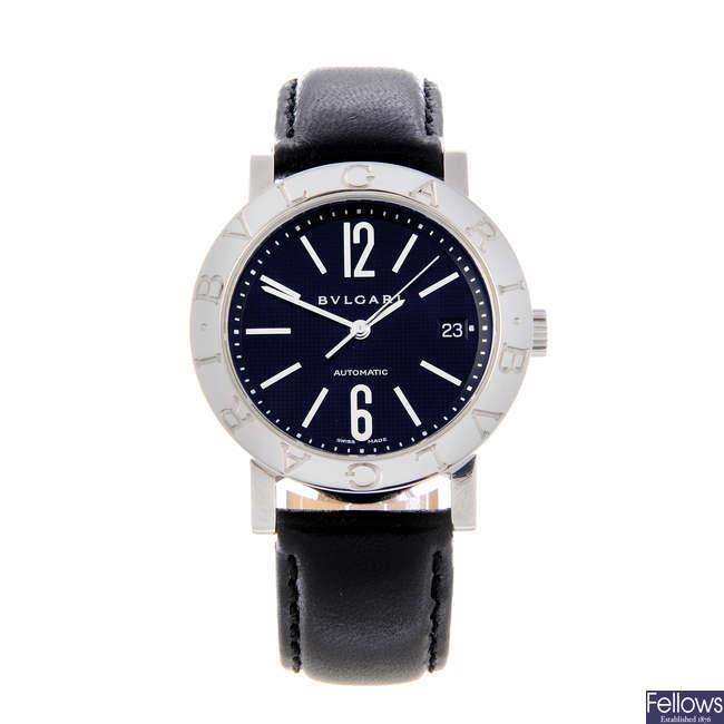 BULGARI - a gentleman's stainless steel Bulgari wrist watch.