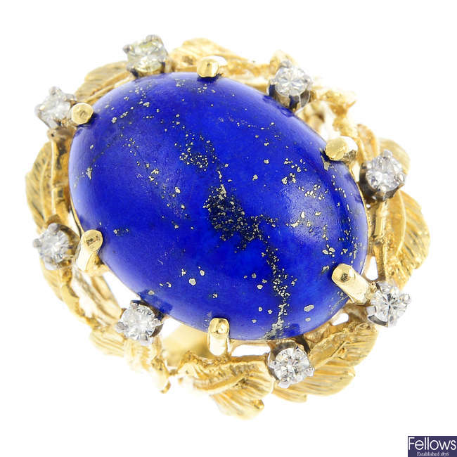A mid 20th century lapis lazuli and diamond dress ring.