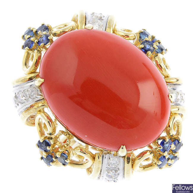 A coral, diamond and sapphire dress ring.