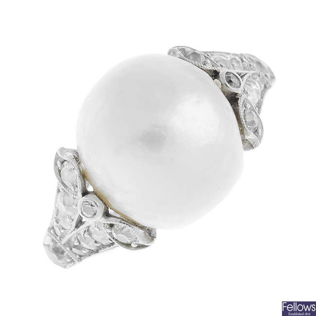 An Edwardian platinum natural pearl ring, with period silver heart-shape ring case.