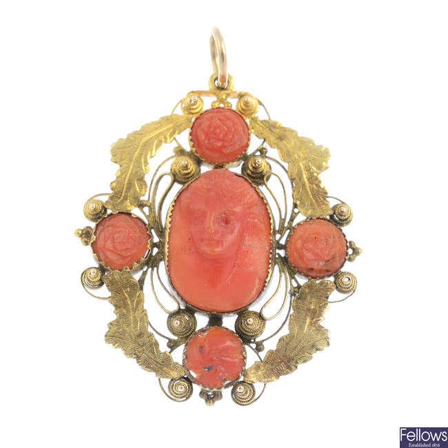 A late Victorian coral pendant.