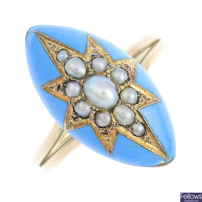A Victorian gold, split pearl and enamel ring.