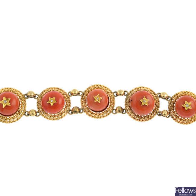A diamond and coral bracelet.