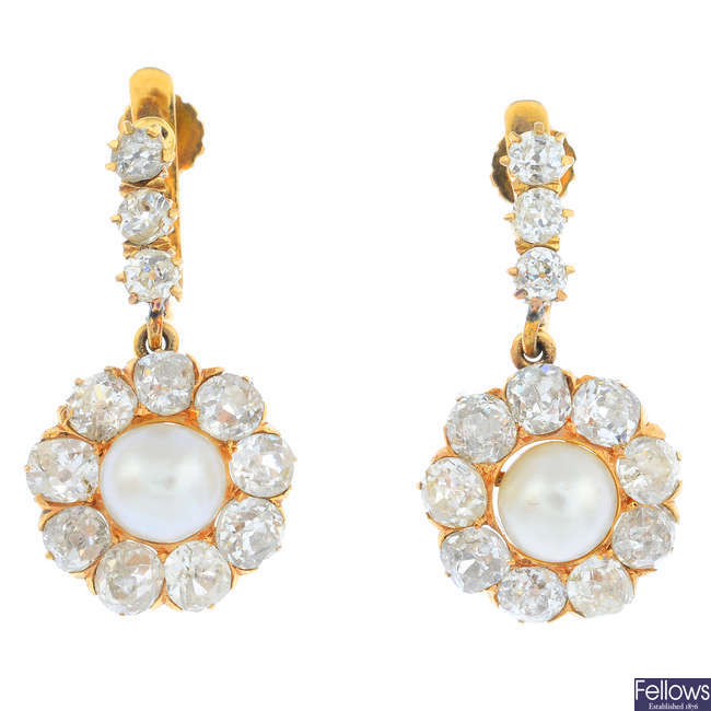 A pair of late Victorian gold natural pearl and diamond earrings.